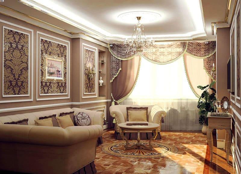 Элементы центральной люстры должны быть выполнены из хрусталя и украшены позолотой