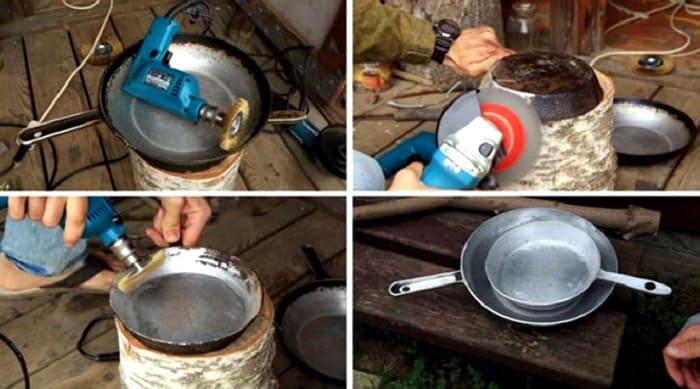 Порядок очистки сковородки шлифмашинкой