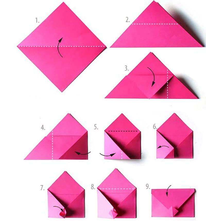 Конверт в технике оригами пошагово