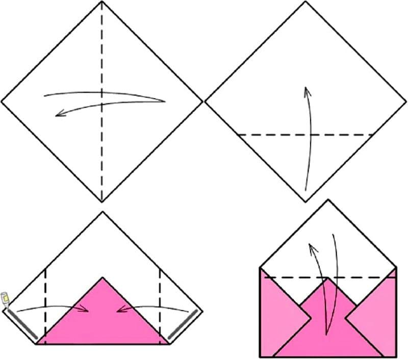 kak-sdelat-konvert-iz-bumagi-formata-A4-3 Как сделать конверт из А4: своими руками поэтапно, для письма без клея и ножниц, большой и маленький, фото и видео