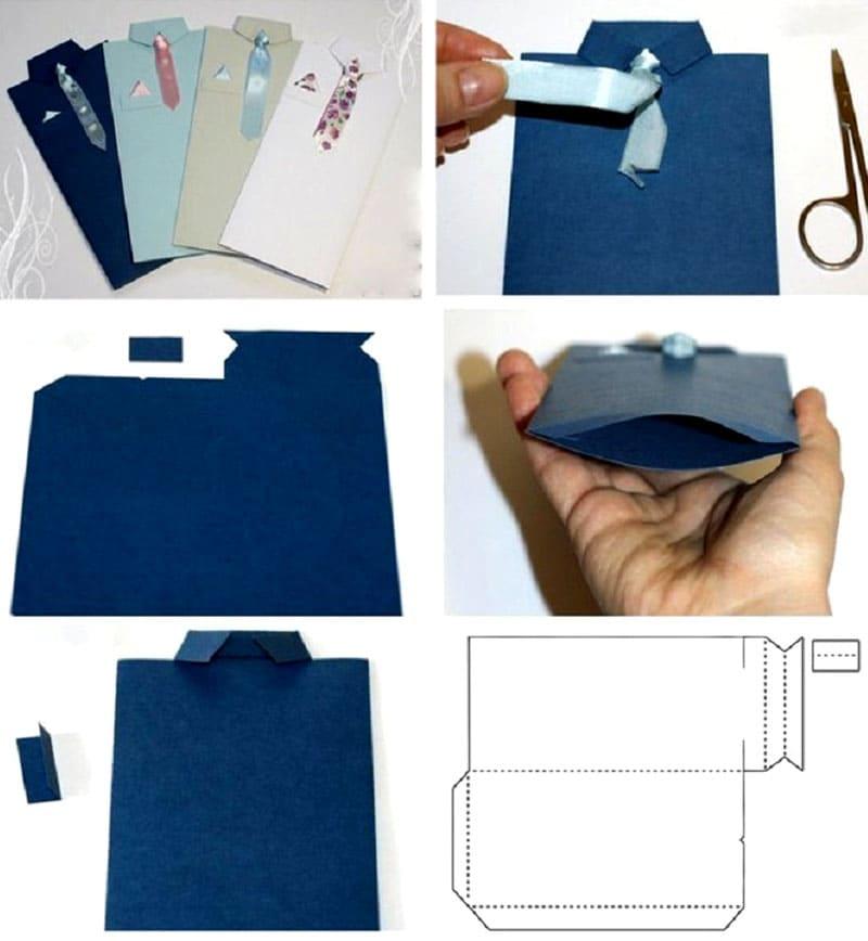 Пошаговое изготовление конверта для мужчин