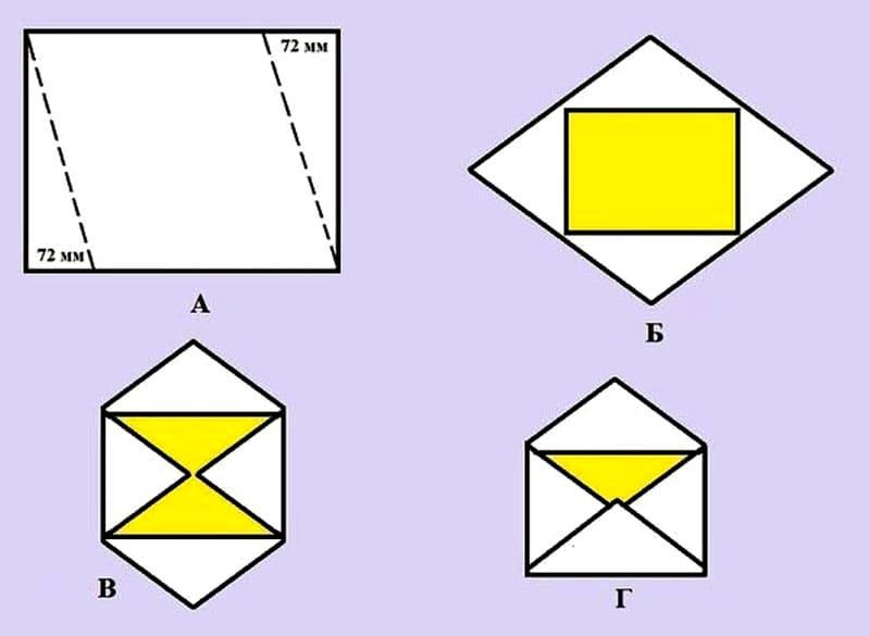 kak-sdelat-konvert-iz-bumagi-formata-A4-4 Как сделать конверт из А4: своими руками поэтапно, для письма без клея и ножниц, большой и маленький, фото и видео