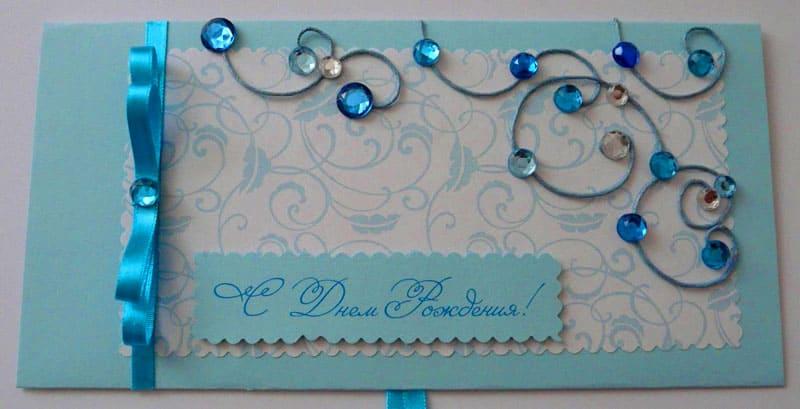 Открытки оборотная, украшение из ленты для открытки