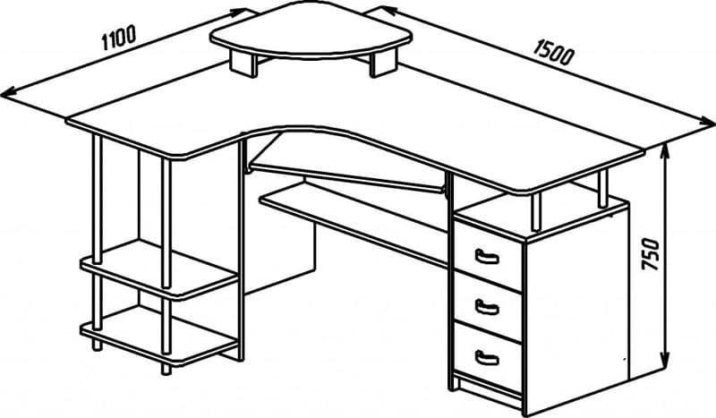 Средние размеры углового стола