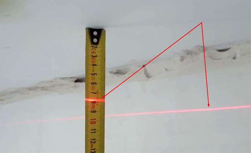 В разных местах расстояние от потолка до луча лазера будет отличаться