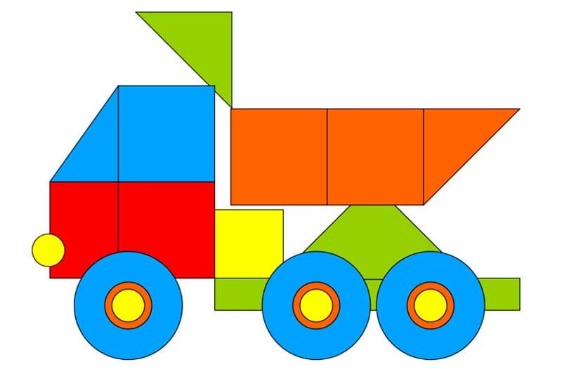 Более сложная поделка - самосвал, ребёнок может разрезать его самостоятельно по отмеченным линиям