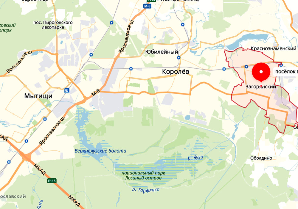 Посёлок на карте