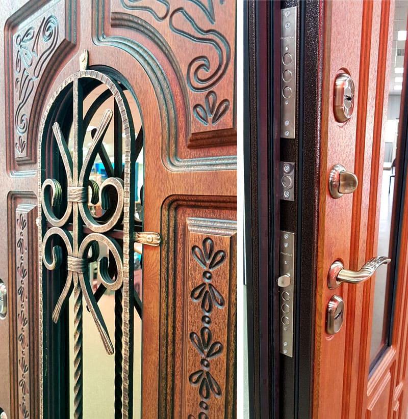 Есть возможность заказать индивидуальную дверь по спецзаказу – к примеру, с резной ковкой