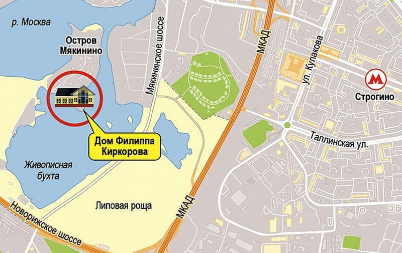 Местонахождение дворца Киркорова в Мякининской пройме