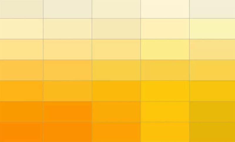 Палитра жёлтых оттенков
