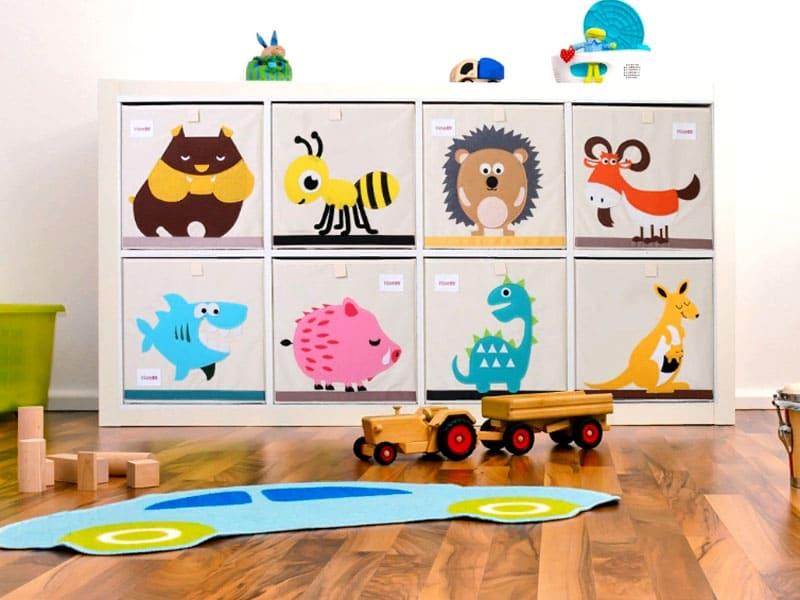 Если вы счастливый обладатель стеллажа или полки, то вот такие необычные ящики могут стать интересным решением для организации пространства детской