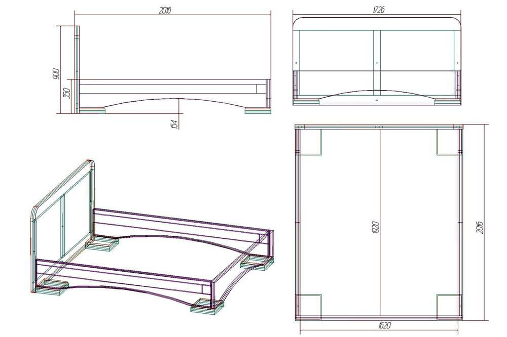 Схема двуспальной кровати из дерева