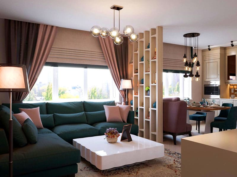 Гостиную и кухню разделяет открытый стеллаж с подставками