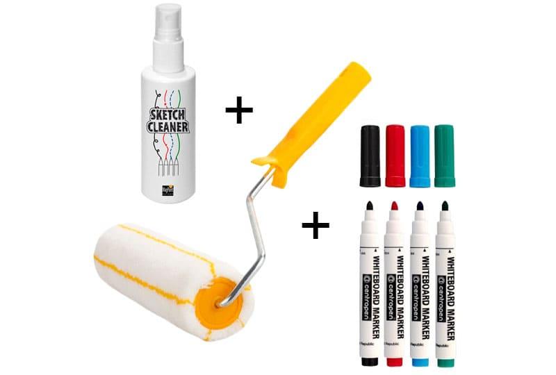 Чаще всего в комплекте вам предложат саму краску, набор маркеров и валик