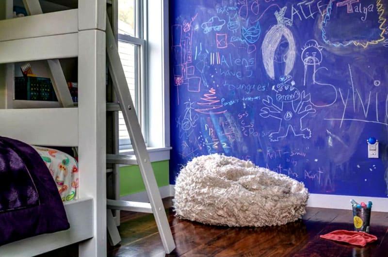 Оформление стены с помощью грифельной краски в интерьере