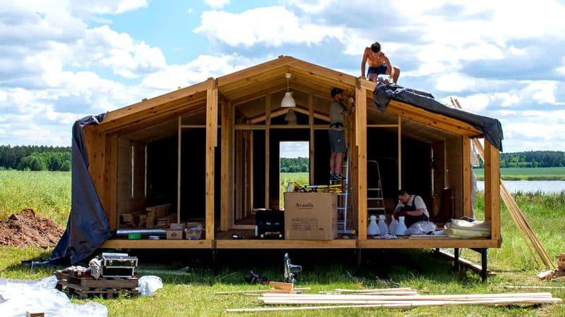 Модульный дом для небольшой семьи из 6 блоков