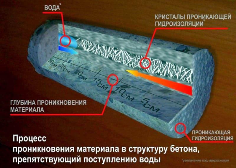 Специальные вещества проникают вглубь стен, связываются со свободной известью и влагой, заполняя капилляры с водой твёрдым материалом