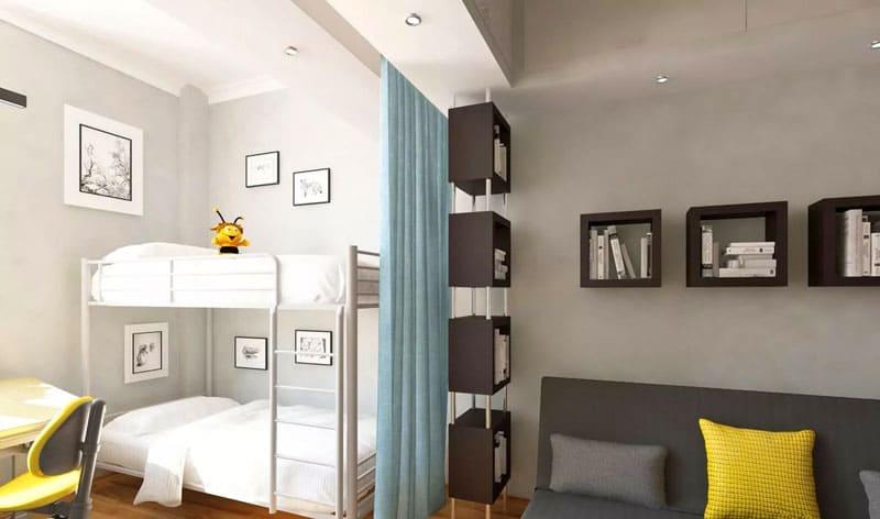 Для детской комнаты разделение может быть весьма условным, к примеру, с помощью штор