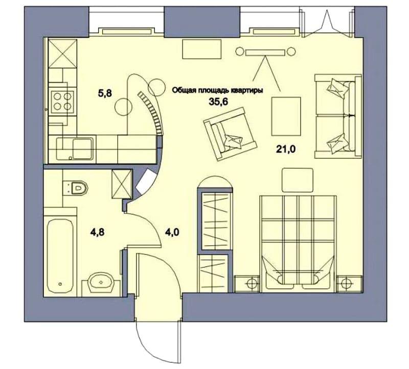 Проект перепланировки квартиры-студии