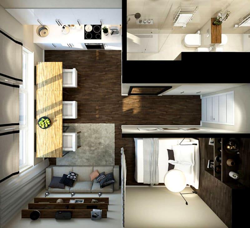 Варианты перепланировки с выделением гостиной и спальной зоны