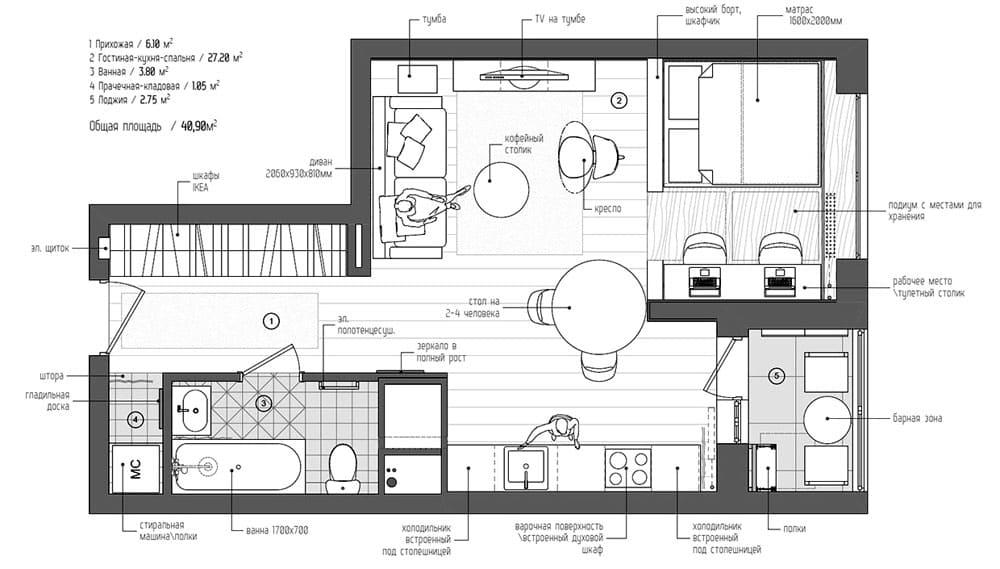 Пример планировки однокомнатной квартиры свободной площади