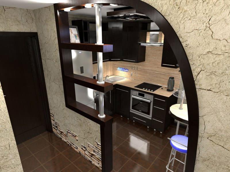 Вариант выделения кухонной зоны в коридоре