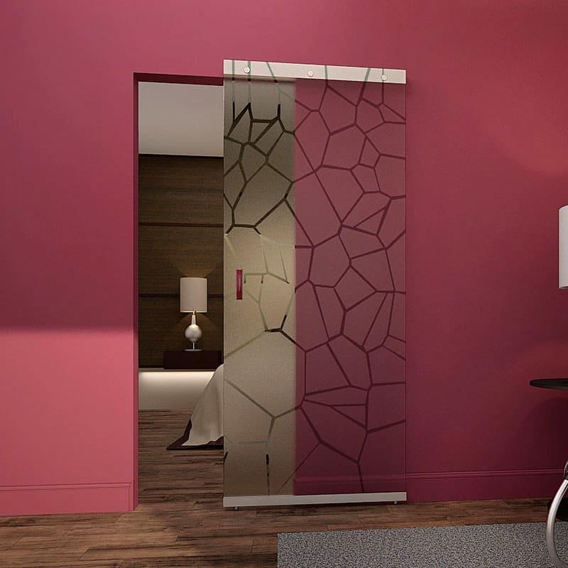 Такой тип раздвижных конструкции очень популярен для зонирования спальных зон или кухонь