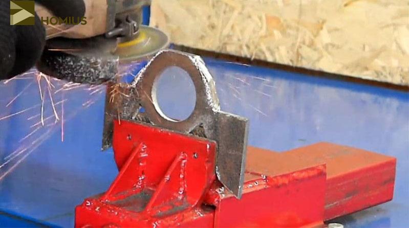 Обработка кронштейна при помощи шлифовального круга и УШМ