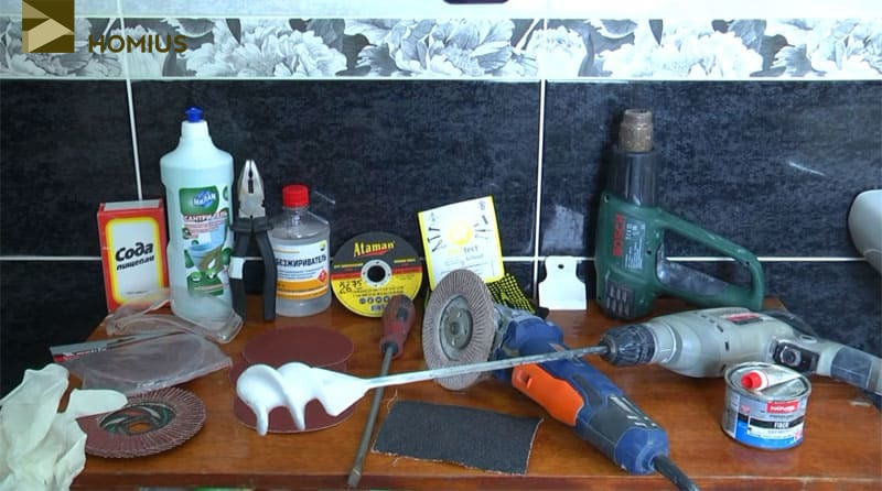 Весь инструмент, который был мною подготовлен перед началом работ