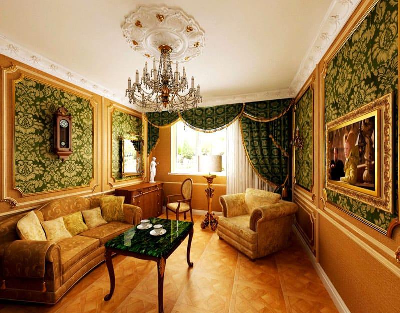 Даже в небольшой гостиной, на стенах весьма гармонично будет смотреться живопись ренессанса
