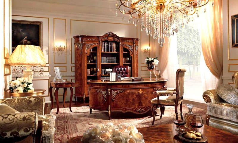 В квартире можно оформить зальную комнату или просторный кабинет со стилизацией характерных элементов