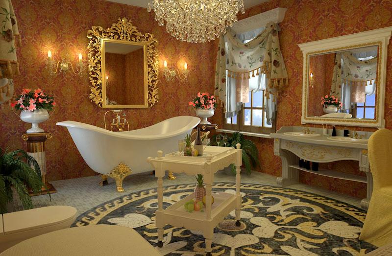 Главные элементы ванного интерьера – большие зеркала в резных рамах