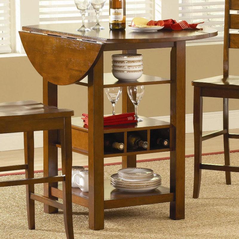 Современные варианты кухонных столов вмещают в себя не просто стол, но и компактную полочку