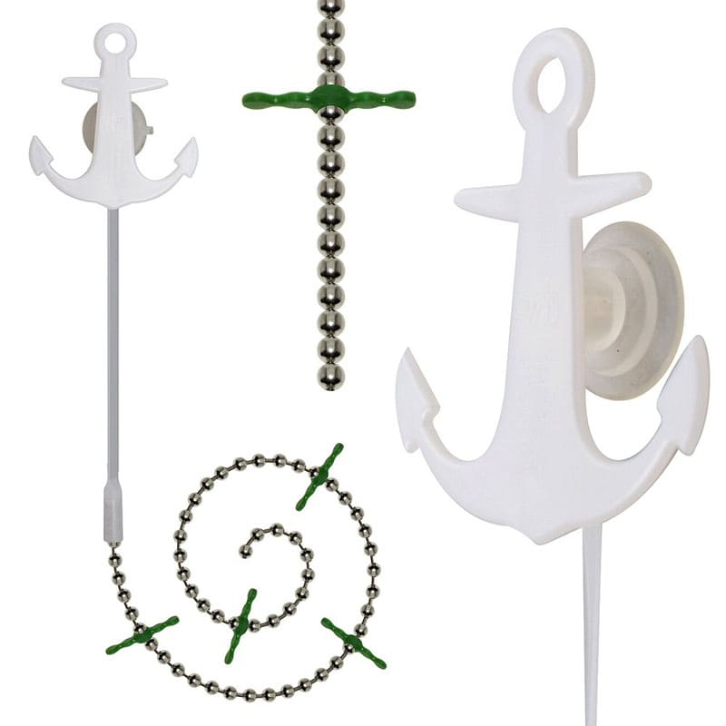 Ловушка на присоске в виде якоря с цепочкой и перекладинами