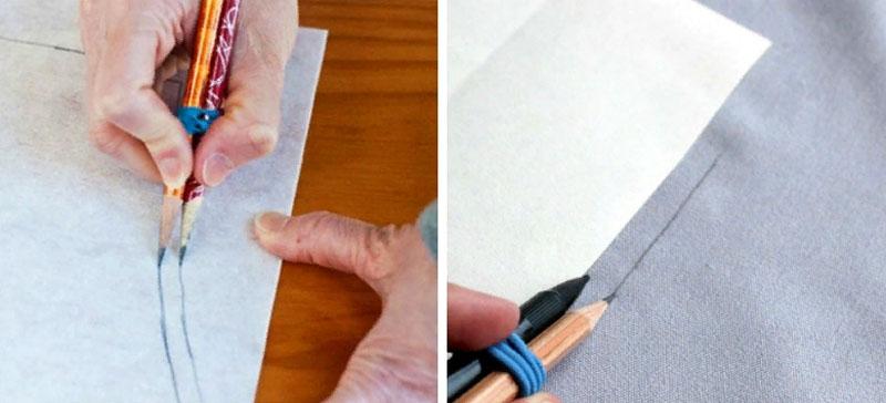 Для того чтобы разметить ткань сразу с припусками не обязательно использовать сантиметр