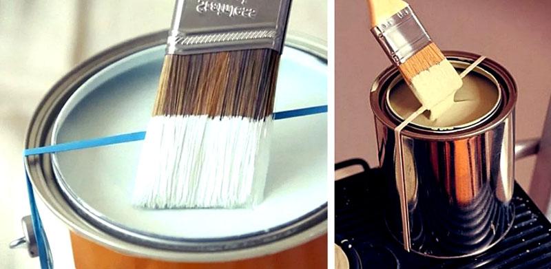 Чтобы лишняя краска не капала с кисточки, просто натяните обычную резинку
