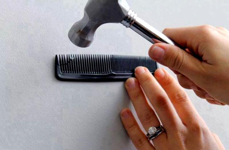 Мелкие гвозди постоянно выпадают из рук, используйте расческу!