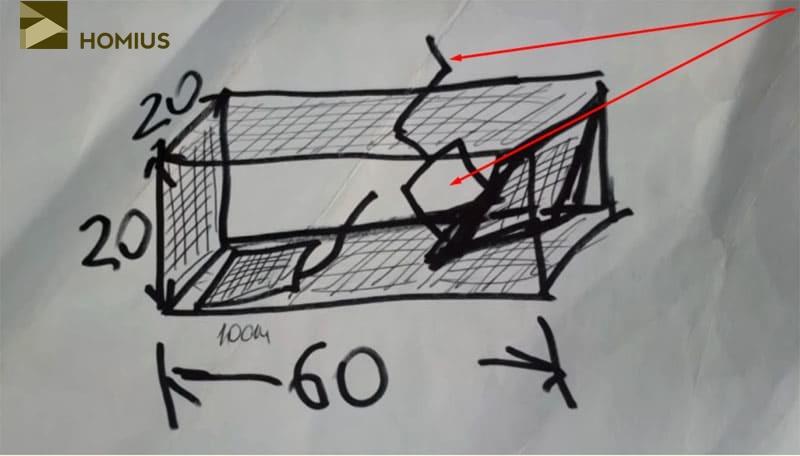 Набросок будущей крысоловки – важно просчитать все размеры и понять действие механизма