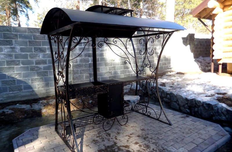 Мангал с крышей удобен тем, что его можно расположить практически в любой точке вашего участка