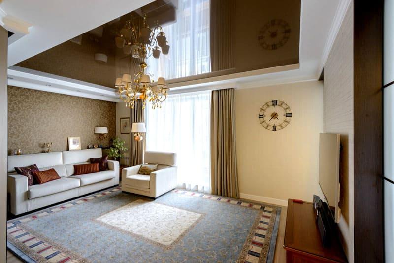 Целесообразно использовать в сочетании с белым гипсокартонным бордюром в многоуровневых потолках