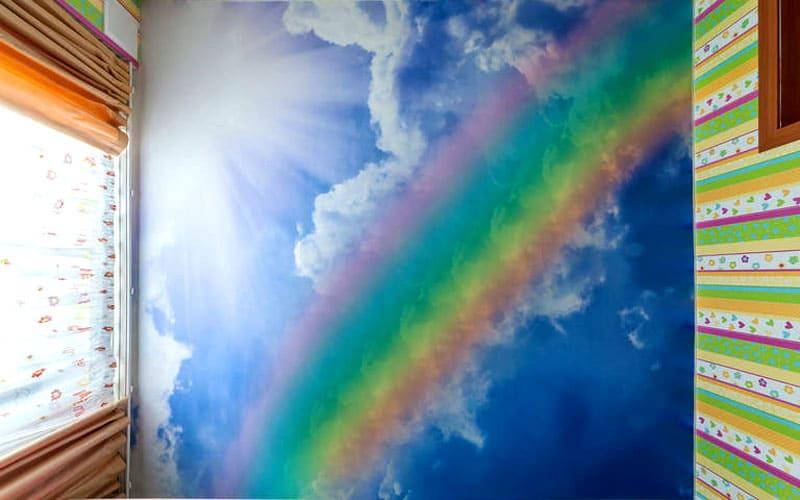 Эффектная фотопечать «летнее небо с радугой»
