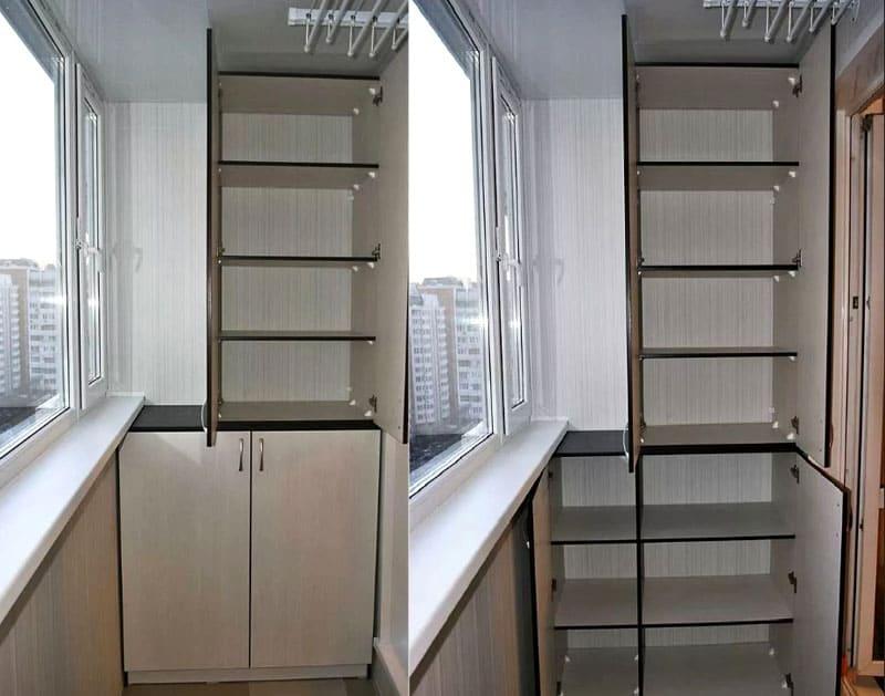 Лучше всего заранее распланировать расположение полок и ящиков, ориентируясь на размеры балкона