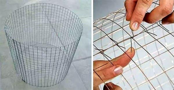 Соединение мелкоячеистой готовой сетки в каркас