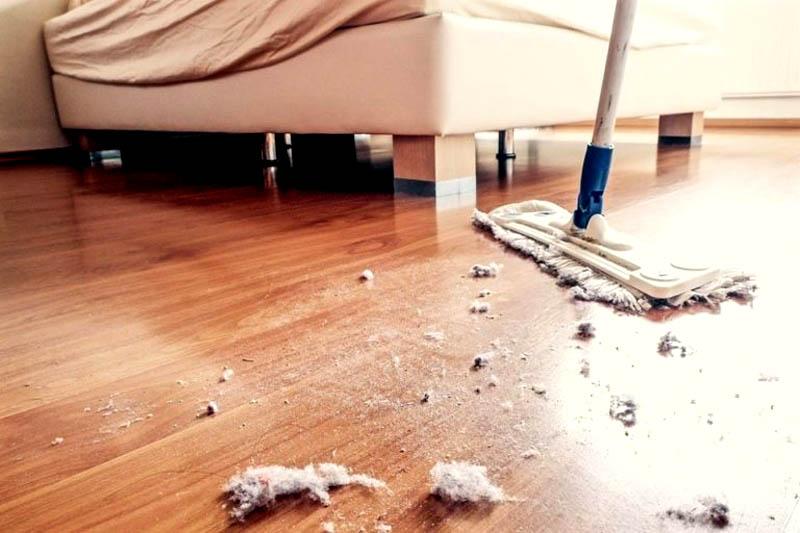 Катышки пыли придётся удалять в несколько этапов, так как они могут оставаться на полу и других поверхностях, портя внешний вид