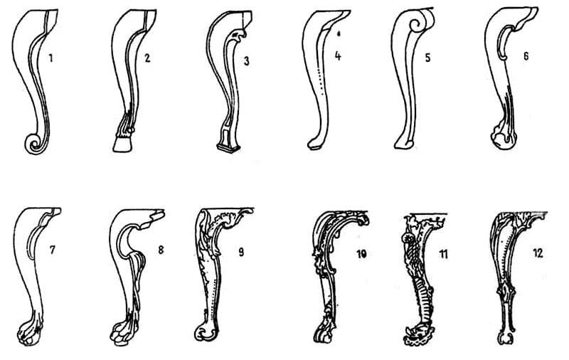 Шаблоны для вытачивания ножек в стиле кабриоль