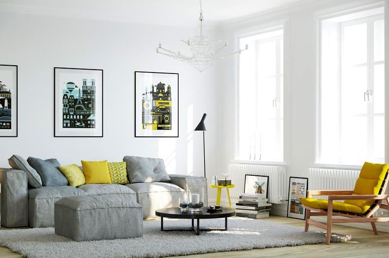 Для создания сканди нужен белый фон отделки, мебель из дерева, пара ярких акцентов