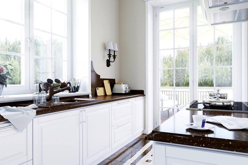 Комфортной будет кухня с достаточным количеством нужной техники, с продуманной зоной перемещения от плиты к раковине и холодильнику, с удобной мебелью