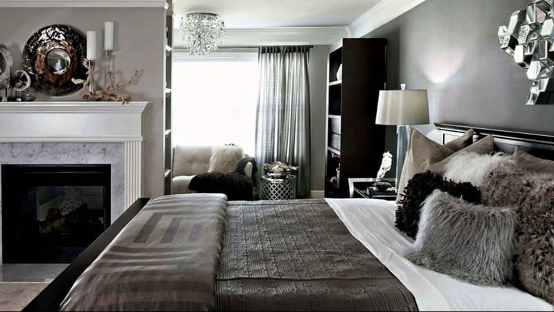 Роскошная спальня в серых тонах от дизайнера Джулии Грей