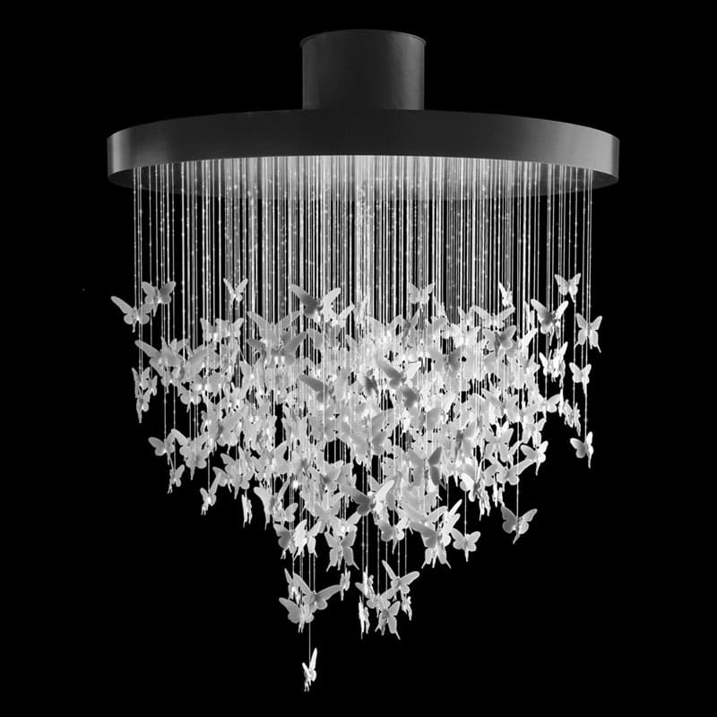 Знаменитую люстру в форме медузы можно сделать из бумаги, блестящих нитей и обода