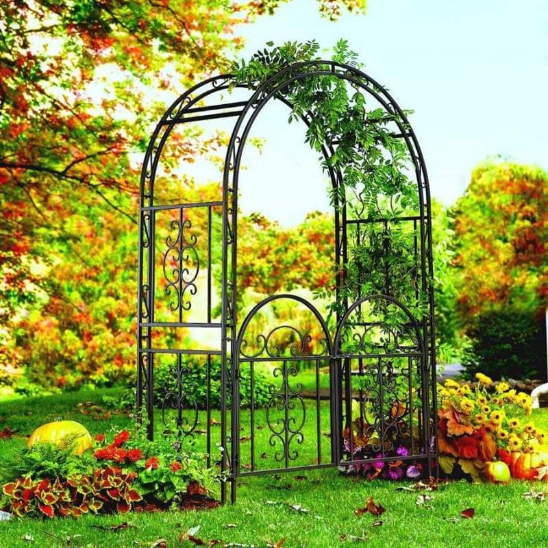 Кованые арки после буйно-цветущего лета остаются прекрасным украшением в саду
